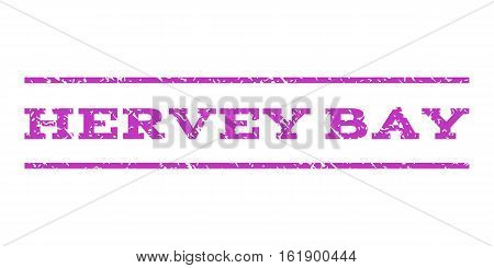 Hervey Bay watermark stamp. Text caption between horizontal parallel lines with grunge design style. Rubber seal stamp with dust texture. Vector violet color ink imprint on a white background.