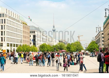 BERLIN, GERMANY- May 18, 2016: Tv tower or Fersehturm in Berlin on May 18, 2016. BERLIN, Germany.