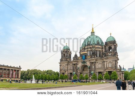 Berlin, Mitte - May 18,2016 : Berlin Cathedral Church. German Berliner Dom. A famous landmark. May 18,2016 in Berlin, Germany.