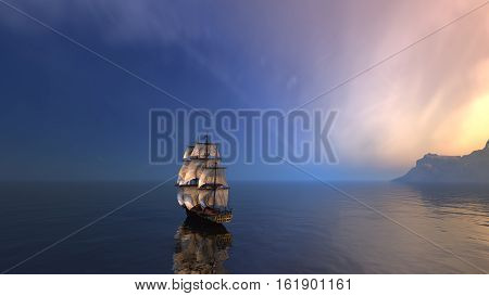 a sailing ship in the vast ocean with small waves close to a mountain  island. 3D rendered.