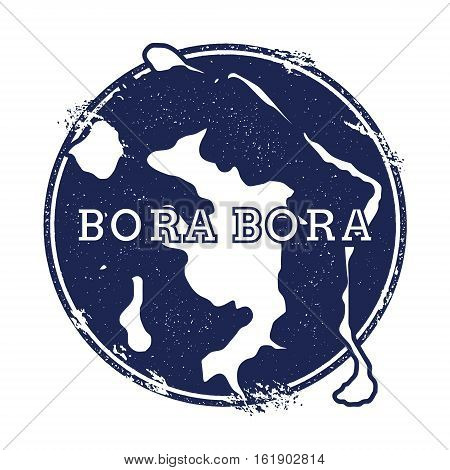 Bora Bora Vector Map. Grunge Rubber Stamp With The Name And Map Of Island, Vector Illustration. Can