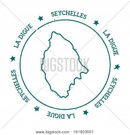 La Digue Vector Map. Distressed Travel Stamp With Text Wrapped Around A Circle And Stars. Island Sti