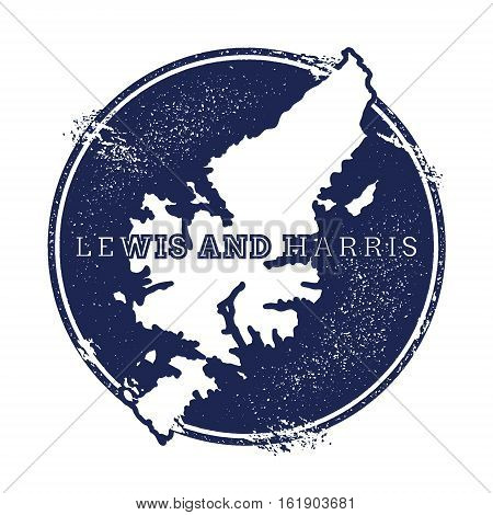 Lewis And Harris Vector Map. Grunge Rubber Stamp With The Name And Map Of Island, Vector Illustratio