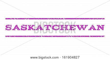 Saskatchewan watermark stamp. Text tag between horizontal parallel lines with grunge design style. Rubber seal stamp with dust texture. Vector violet color ink imprint on a white background.