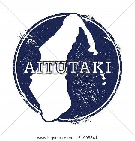 Aitutaki Vector Map. Grunge Rubber Stamp With The Name And Map Of Island, Vector Illustration. Can B
