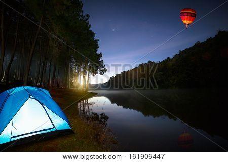 Small Camping Tent Illuminated Inside. Pang Ung Mae Hong Son Northen Thailand