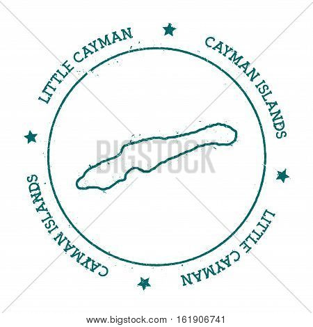 Little Cayman Vector Map. Distressed Travel Stamp With Text Wrapped Around A Circle And Stars. Islan