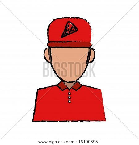 portrait delivery pizza boy sketch vector illustration eps 10