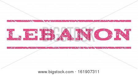 Lebanon watermark stamp. Text tag between horizontal parallel lines with grunge design style. Rubber seal stamp with scratched texture. Vector pink color ink imprint on a white background.