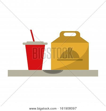 fast food take out box and plastic cup soda vector illustration eps 10
