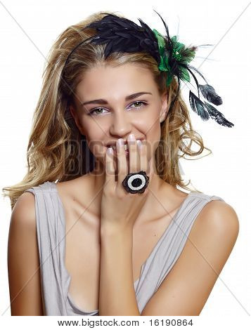 Beautiful Woman With Retro Hair Accessories.
