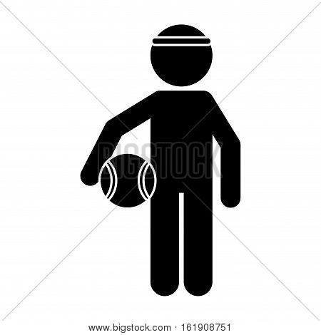 silhouette player basketball with headband vector illustration eps 10