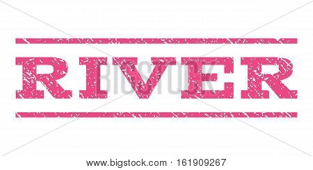 River watermark stamp. Text caption between horizontal parallel lines with grunge design style. Rubber seal stamp with dirty texture. Vector pink color ink imprint on a white background.