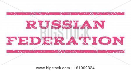 Russian Federation watermark stamp. Text tag between horizontal parallel lines with grunge design style. Rubber seal stamp with dust texture. Vector pink color ink imprint on a white background.