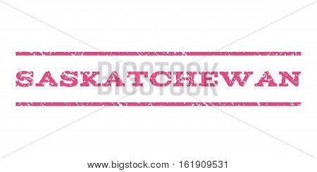 Saskatchewan watermark stamp. Text caption between horizontal parallel lines with grunge design style. Rubber seal stamp with scratched texture. Vector pink color ink imprint on a white background.