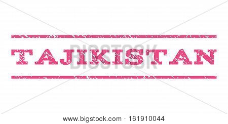 Tajikistan watermark stamp. Text tag between horizontal parallel lines with grunge design style. Rubber seal stamp with unclean texture. Vector pink color ink imprint on a white background.