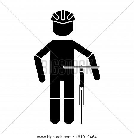 silhouette professional racing cyclist uniform helmet bicycle vector illustration eps 10