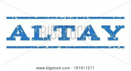 Altay watermark stamp. Text caption between horizontal parallel lines with grunge design style. Rubber seal stamp with unclean texture. Vector smooth blue color ink imprint on a white background.