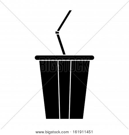 silhouette plastic cup soda with straw drink american football vector illustration eps 10