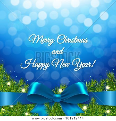 Blue Xmas Background With Bow, With Gradient Mesh, Vector Illustration