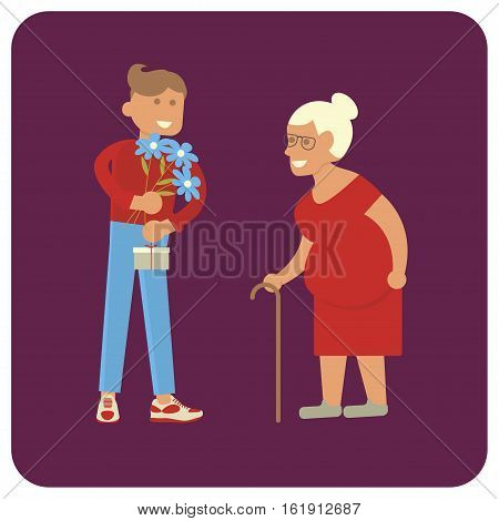 Young volunteer man and senior, old woman. Vector illustration eps 10