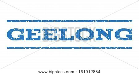 Geelong watermark stamp. Text caption between horizontal parallel lines with grunge design style. Rubber seal stamp with dust texture. Vector smooth blue color ink imprint on a white background.