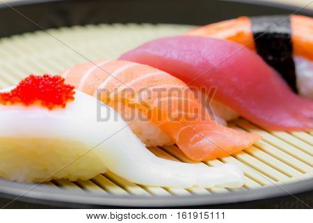 Set of sushi on plate in the restaurant