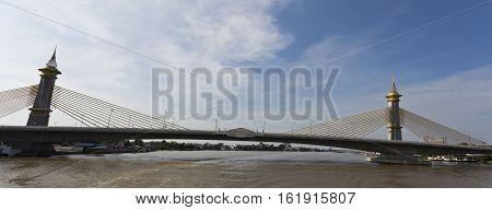 Maha Chesadabodindranusorn Bridge is a cable stayed bridge over the Chao Phraya River in Nonthaburi Province Bangkok Thailand.