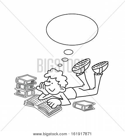 Monochrome outline cartoon boy reading isolated on black background  with copy space for own text