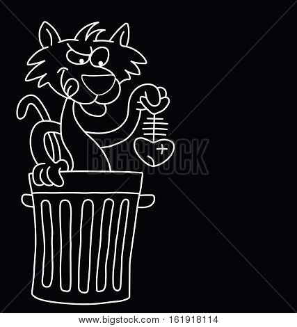 Monochrome cartoon cat with dinner isolated on black background with  copy space for own text