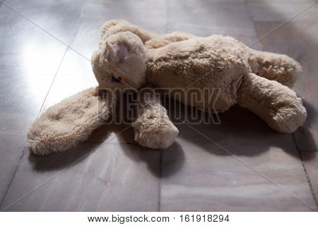 Cute rabbit doll toy, sleep on floor -old tone