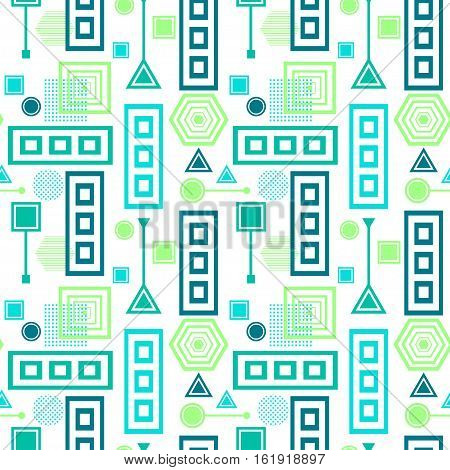 Abstract seamless pattern from geometric form in postmodern Memphis Style blue green on white for wallpaper or package or for clothes or for creative design abstract city in fresh colors