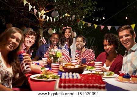 Portrait Of Friends At 4th Of July Holiday Backyard Party
