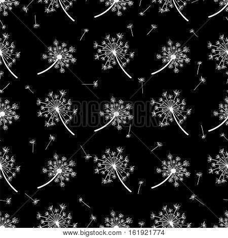 Monochromic seeds and dandelions seamless pattern vector illustration