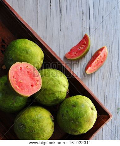 a Guava Fruit for Daily Health Tonic with Texture Plate for Magazine Cover