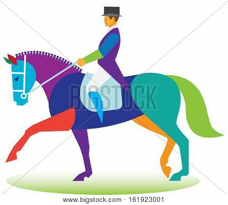 Young woman is rider on dressage competition