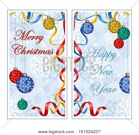 Two oblong greeting banner for the winter holidays. Background with pattern of snowflakes colorful christmas ball ribbon streamers and inscription. Cartoon style.