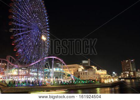 Yokohama cosmo world in Kanagawa Japan (night scene)