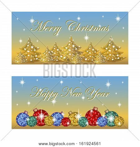Two oblong horizontal greeting card for the winter holidays. Bright Christmas balls silhouettes of trees the stars twinkle. Background vector golden blue gradient. Cartoon style.