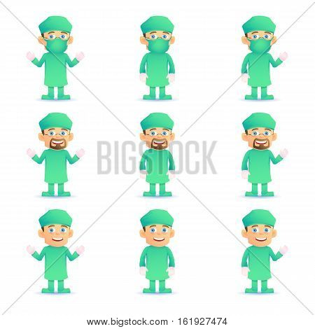 Surgeon. Set of various poses. Isolated on white. Vector illustration.