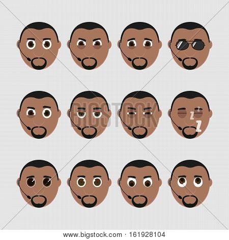 Set Of Cute Bodyguard Emoticons.
