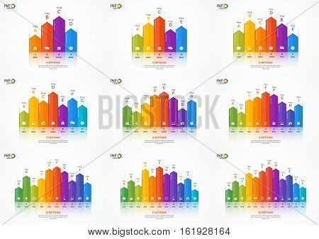 Set Of Column Chart Infographic Templates With 4-12 Options