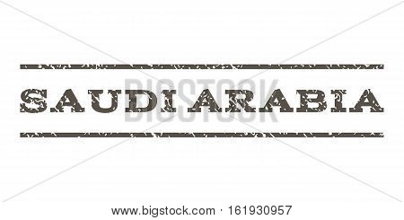 Saudi Arabia watermark stamp. Text tag between horizontal parallel lines with grunge design style. Rubber seal stamp with scratched texture. Vector grey color ink imprint on a white background.