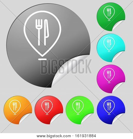 Map Pointer With Restaurant Icon Sign. Set Of Eight Multi Colored Round Buttons, Stickers. Vector
