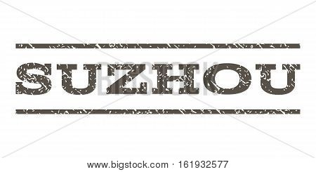 Suzhou watermark stamp. Text caption between horizontal parallel lines with grunge design style. Rubber seal stamp with unclean texture. Vector grey color ink imprint on a white background.