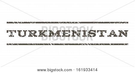 Turkmenistan watermark stamp. Text caption between horizontal parallel lines with grunge design style. Rubber seal stamp with unclean texture. Vector grey color ink imprint on a white background.