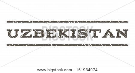 Uzbekistan watermark stamp. Text caption between horizontal parallel lines with grunge design style. Rubber seal stamp with dirty texture. Vector grey color ink imprint on a white background.