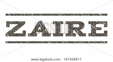 Zaire watermark stamp. Text tag between horizontal parallel lines with grunge design style. Rubber seal stamp with unclean texture. Vector grey color ink imprint on a white background.