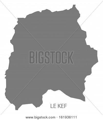 Le Kef Tunisia Map in grey silhouette illustration