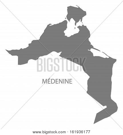 Medenine Tunisia Map in grey silhouette illustration
